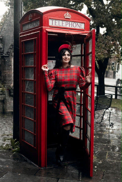 PRE-ORDER Hannah 4-way luxury reversible tartan / velvet long sleeved dress Hannah Sophia England