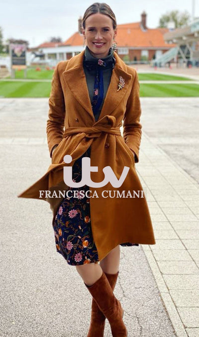 PRE-ORDER Serena - floral midi skirt as seen on Francesca Cumani with a navy reverse Hannah Sophia England
