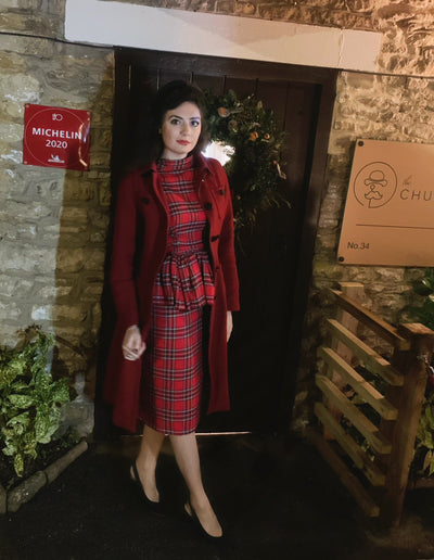 Red tartan and velvet tailored reversible blouse and skirt two-piece set Hannah Sophia England