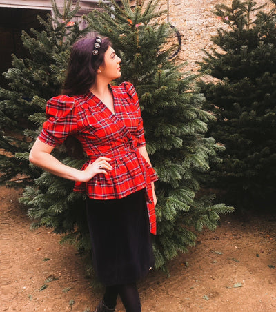 Tailored reversible red tartan blouse Hannah Sophia England