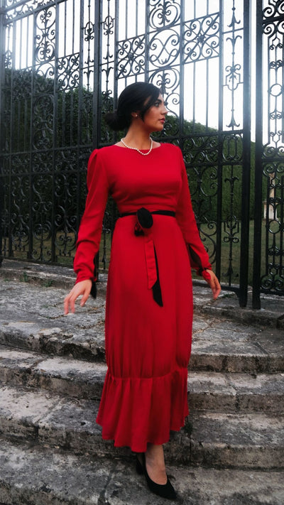 The Clementine Gown - Rouge Red / Black luxury four way reversible dress with side pockets Hannah Sophia