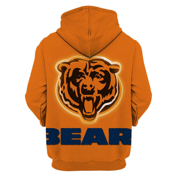 3D Chicago Bears Printed Hooded Pocket Pullover Sweater -01 - diNeiLa