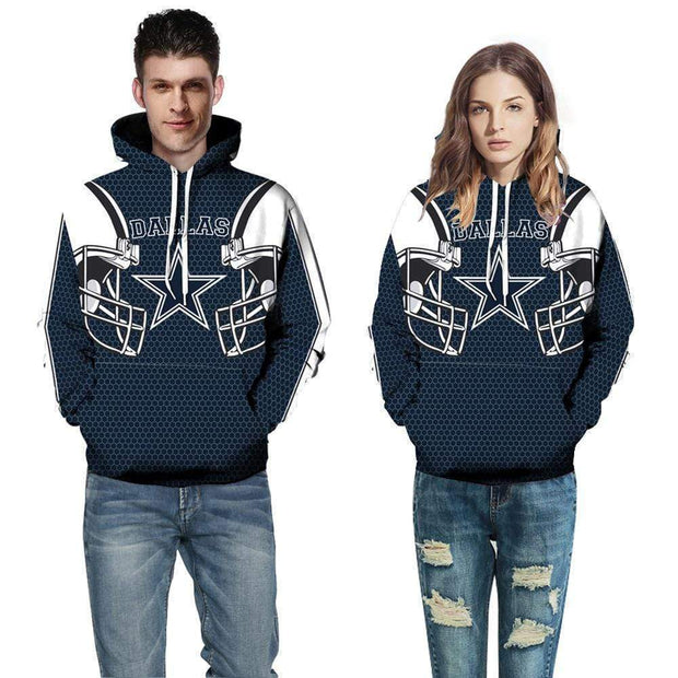 3D Dallas Cowboys Printed Hooded Pocket Pullover Sweater - diNeiLa