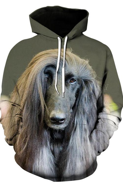 3D Graphic Hoodies Animals Dogs Afghan dog - Douin