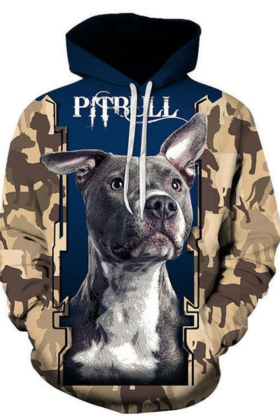 3D Graphic Hoodies Animals Dogs American Pit Bull Terrier - Douin