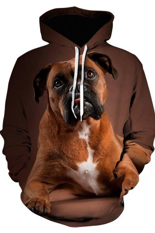 3D Graphic Hoodies Animals Dogs Boxer Quiet - Douin