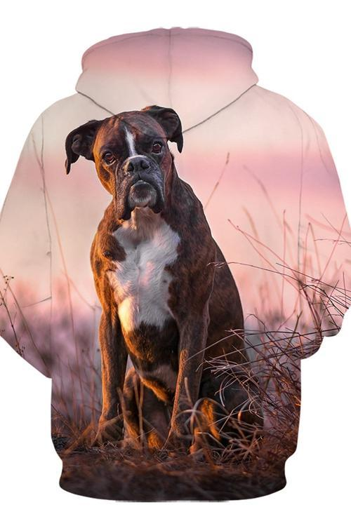 3D Graphic Hoodies Animals Dogs Boxer Sit - Douin