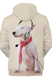 3D Graphic Hoodies Animals Dogs Bull Terrier Listen To Music - Douin