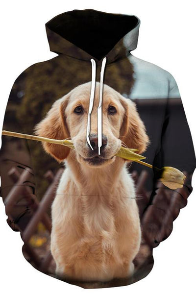 3D Graphic Hoodies Animals Dogs Romantic Golden Retriever - Douin