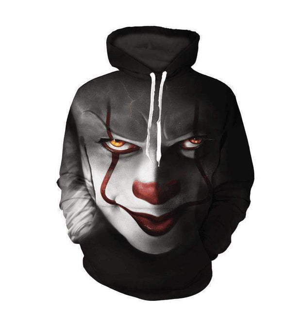 "3D ""It: Chapter Two"" Printed Hooded Pocket Turtleneck Sweater - diNeiLa"