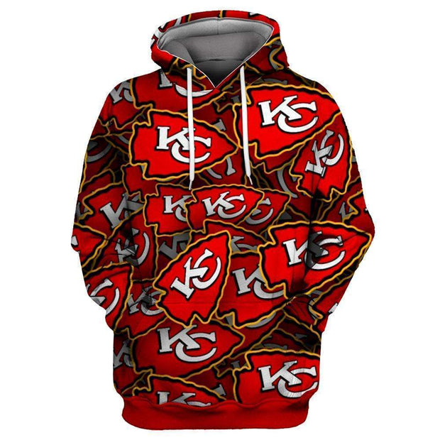 3D Kansas City Chiefs Printed Hooded Pocket Pullover Sweater - diNeiLa