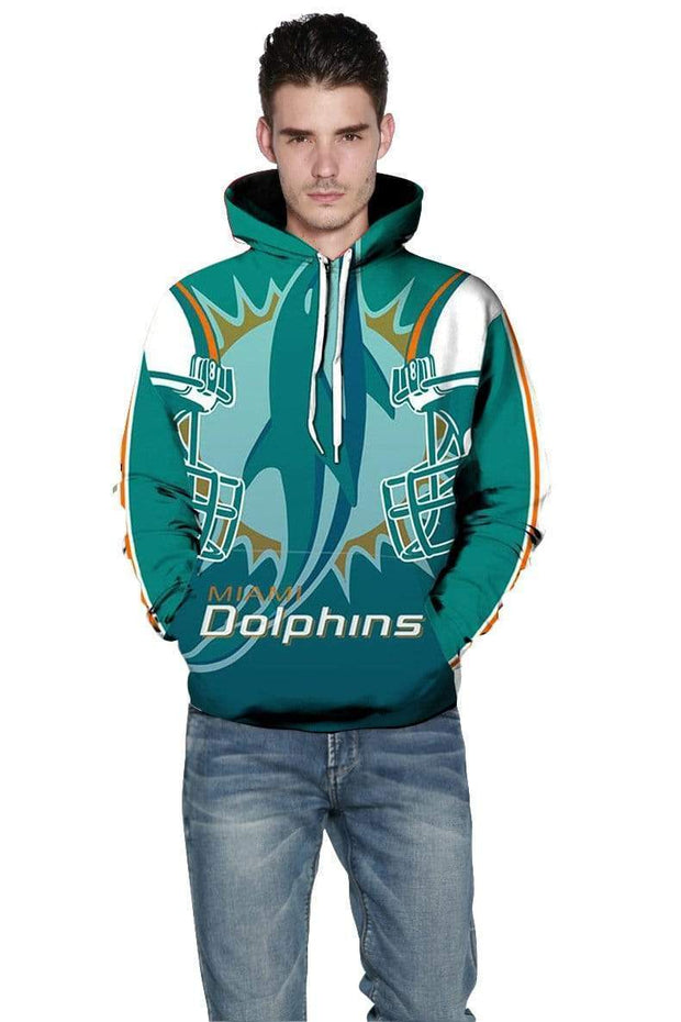 3D Miami Dolphins Printed Hooded Pocket Pullover Sweater - diNeiLa