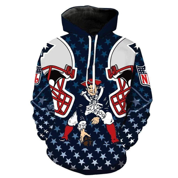 3D New England Patriots Printed Hooded Pocket Pullover Sweater - diNeiLa