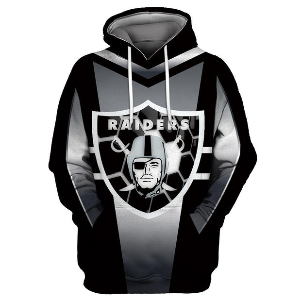 3D Oakland Raiders Printed Hooded Pocket Pullover Sweater -01 - diNeiLa