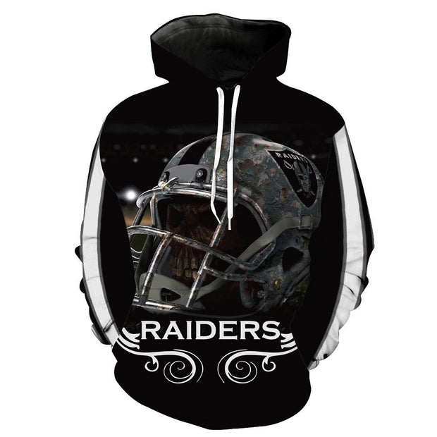 3D Oakland Raiders Printed Hooded Pocket Pullover Sweater -02 - diNeiLa