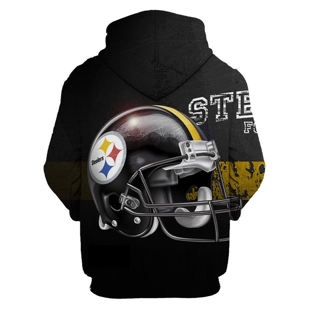 3D Pittsburgh Steelers Printed Hooded Pocket Pullover Sweater -01 - diNeiLa