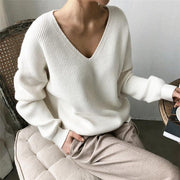 Autumn Winter Casual V Neck Sweater Solid Long Sleeve - diNeiLa