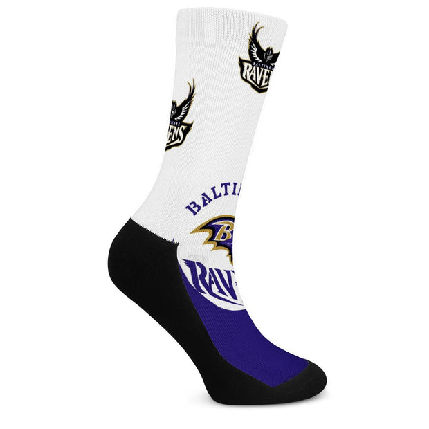 Baltimore Ravens For Bare Feet Crew Socks - diNeiLa