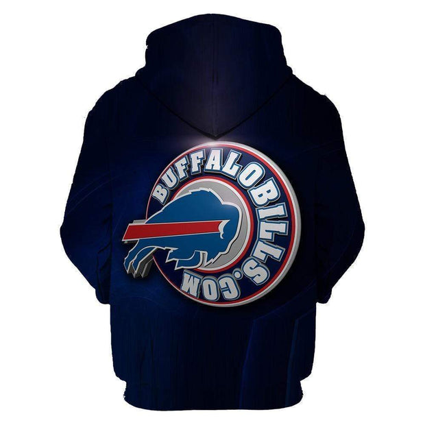 Buffalo Bills Printed Hooded Pocket Pullover Sweater - diNeiLa