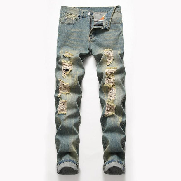 Casual Solid Fashionable Ripped Jeans - Douin