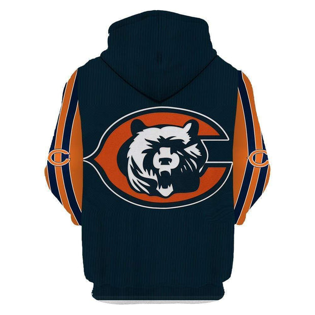 Chicago Bear Printed Hooded Pocket Turtleneck Sweater - diNeiLa