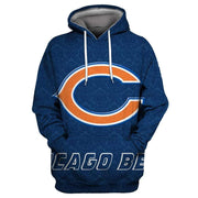 Chicago Bears Printed Hooded Pocket Pullover Sweater - diNeiLa