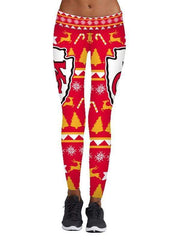 Christmas 3D KC Kansas City Chiefs Printed Yoga Fitness Leggings - diNeiLa