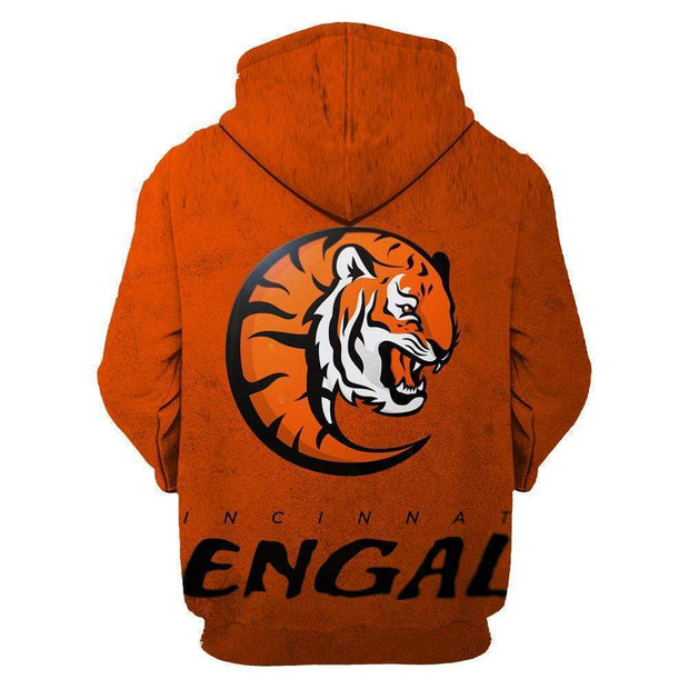 Cincinnati Bengals Printed Hooded Pocket Pullover Sweater - diNeiLa
