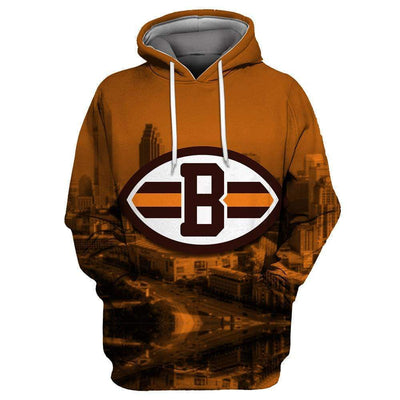 Cleveland Browns Printed Hooded Pocket Pullover Sweater - diNeiLa