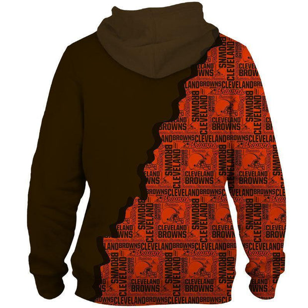 Cleveland Browns Printed Hooded Pocket Sweate - diNeiLa