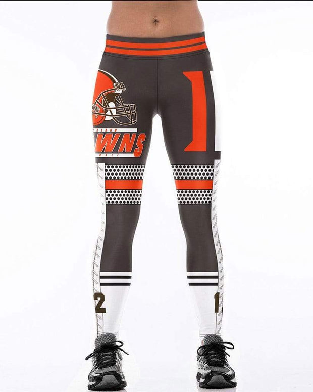 Cleveland Browns Printed Yoga Sports Stretch Pants - diNeiLa