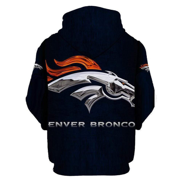 Denver Broncos Printed Hooded Pocket Pullover Sweater - diNeiLa
