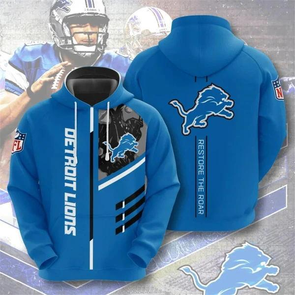 Detroit Lions 3D Printed Hooded Pocket Pullover Hoodie - diNeiLa