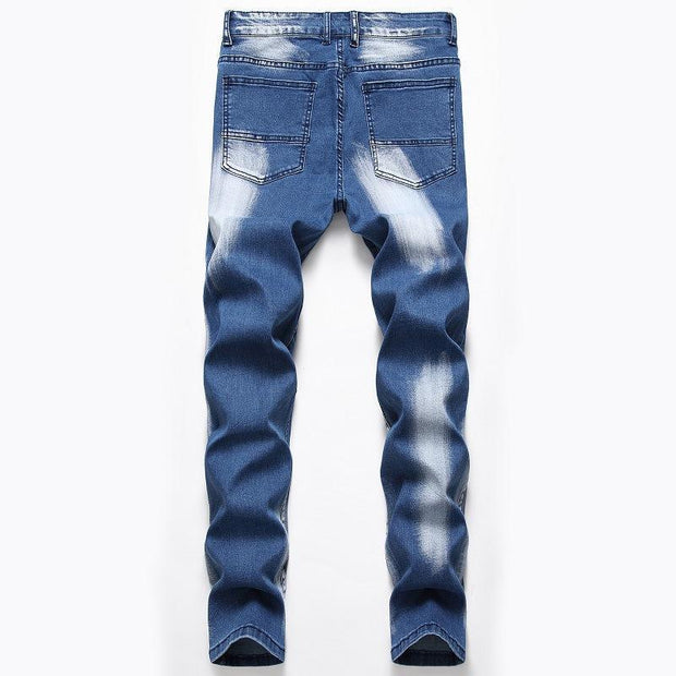 Elasticity Color Block Straight Jeans - Douin