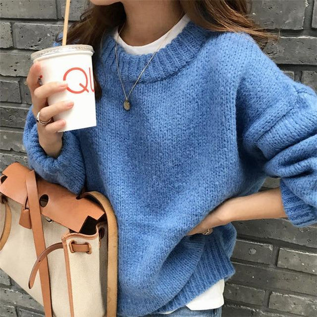 Fashion Solid O Neck Pullover Sweaters Korean Style Casual Tops - diNeiLa