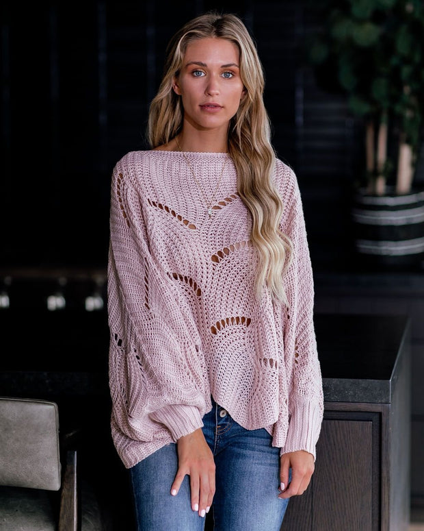 Happy Trails Scalloped Dolman Sweater - Light Pink - diNeiLa
