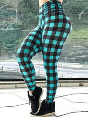 High Waist Push Up Lattice Printed Leggings - diNeiLa