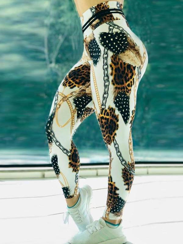 High Waist Push Up Leopard Printed Leggings - diNeiLa