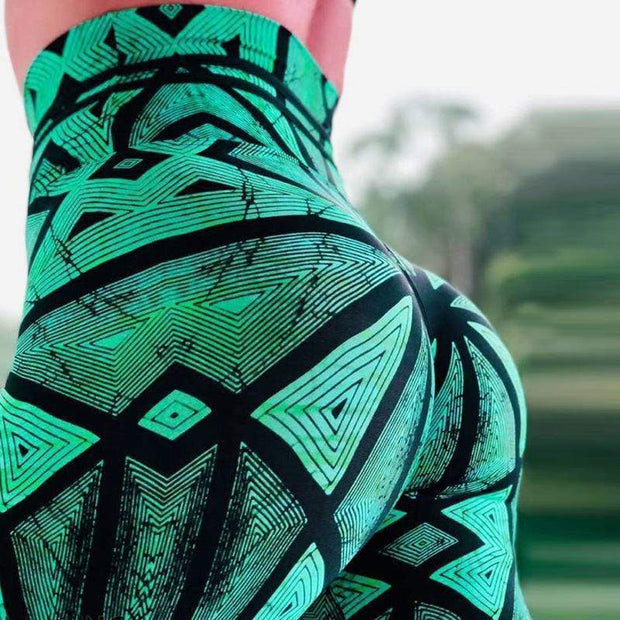 High Waist Push Up Spider Web Printed Leggings - diNeiLa