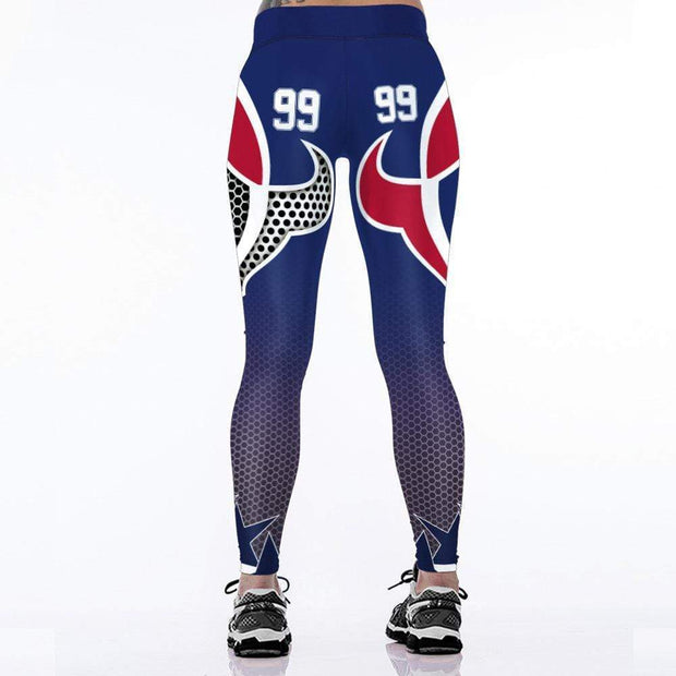 Houston Texans 3D Digital Printed Fashion High Waist Slim Leggings - diNeiLa