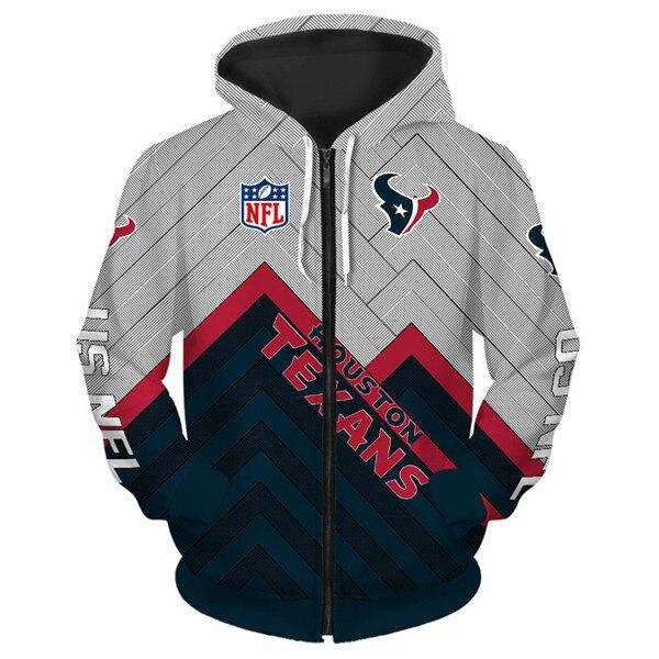 Houston Texans 3D Printed Zipper Hoodie - diNeiLa