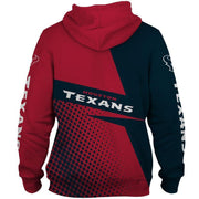 Houston Texans Printed Hooded Pocket Pullover Sweater - diNeiLa
