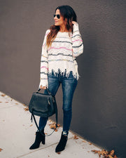 Joy That Never Ends Frayed Knit Sweater - diNeiLa