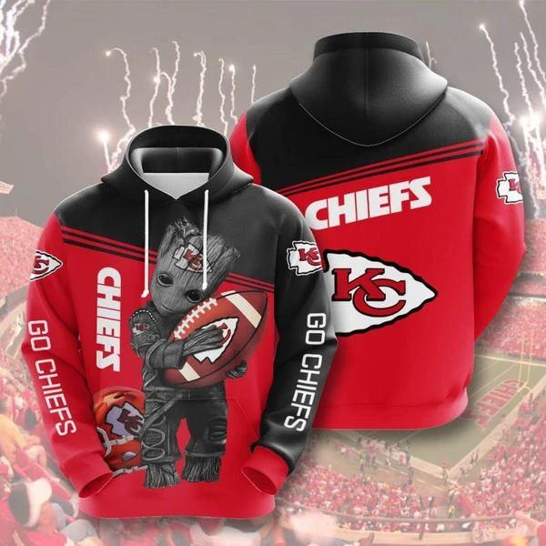 Kansas City Chiefs 3D Printed Hooded Pocket Pullover Hoodie - diNeiLa