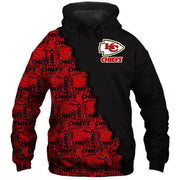 KC Kansas City Chiefs Printed Hooded Pocket Sweate - diNeiLa