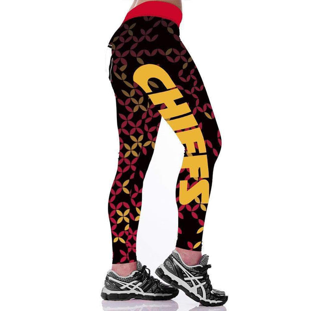 KC Kansas City Chiefs Printed Yoga Sports Stretch Pants - diNeiLa