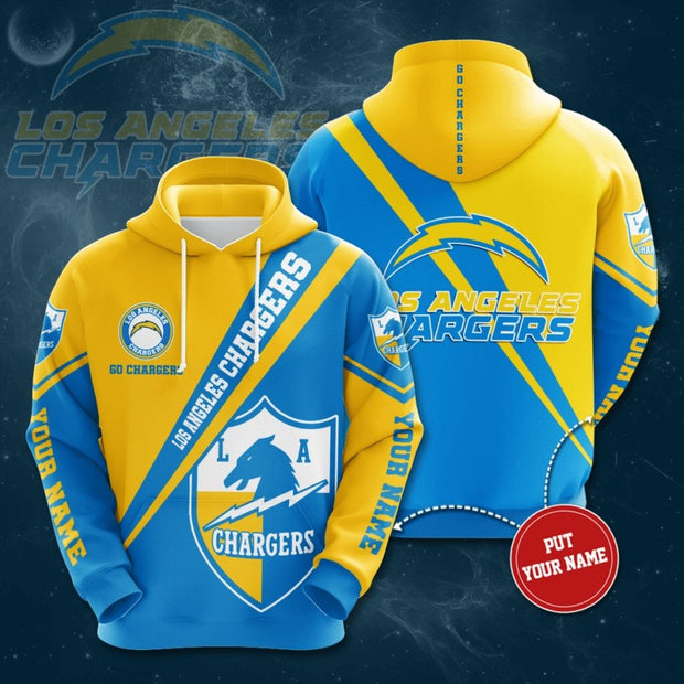 Los Angeles Chargers 3D Printed Hooded Pocket Pullover Hoodie - diNeiLa