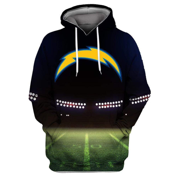 Los Angeles Chargers 3D Printed Hooded Pocket Pullover Sweater - diNeiLa