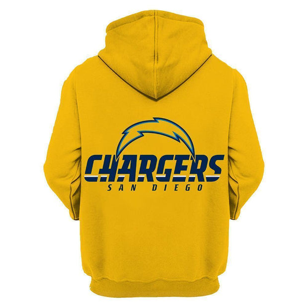 Los Angeles Chargers Printed Hooded Pocket Pullover Sweater - diNeiLa