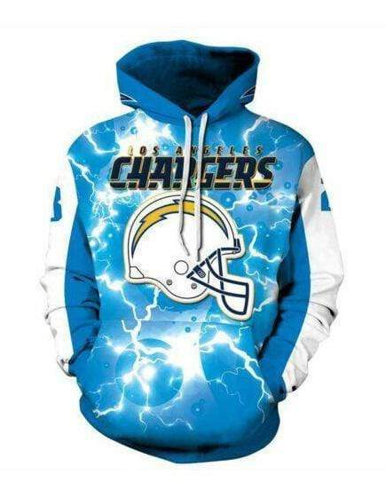 Los Angeles Chargers Sky Printed Hooded Pocket Pullover Sweater - diNeiLa